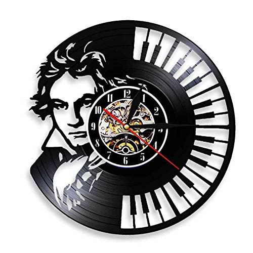 TANCEQI Reloj de Pared de Vinilo Placa Reloj Upcycling 3D Músico Kit de batería Piano Diseño de Reloj de Pared de decoración Vintage de Reloj de Pared Decoración,C