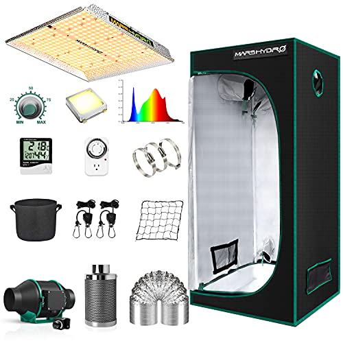 MARS HYDRO Grow Tent Kit Complete 2.3x2.3ft TS1000W Dimmable LED Grow Light Full Specturm Indoor Grow Tent Complete System, 27'x27'x63' Hydroponics Grow Tent Kit 1680D with 4' Ventilation Kit