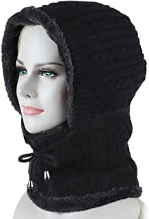 COODIO Men/Women Warm Hood Hat Neck-Warmer Knitted Plush Hood Scarf Cap for Fashion Jewelry