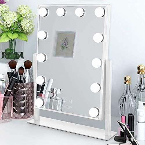 BESTOPE Espejo Maquillaje con Luz Hollywood Espejo Maquillaje LED 12 Luces 3 Modos de Color, Espejo Aumento 10X Control Táctil, Brillo Ajustable 360 ° Giratorio, Puerto de Carga USB Cargar Smartphone