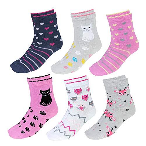 TupTam Kinder Socken Bunt Gemustert 6er Pack für Mädchen und Jungen, Farbe: Mädchen 2, Socken Größe: 31-34