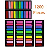 1200 Pieces Page Markers Sticky Index Tabs, Arrow Flag Tabs Colored Sticky Notes for Page Marker Bookmarks [10...