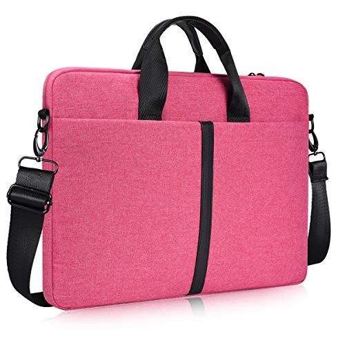 15.6 Inch Laptop Sleeve Shoulder Bag, Waterproof Women Ladies Briefcase Handbag for HP Envy/Pavilion 15.6, Dell Inspiron 15 5000, Acer Aspire E15/Predator, Lenovo MSI GS65 ASUS Carrying Case, Hot Pink