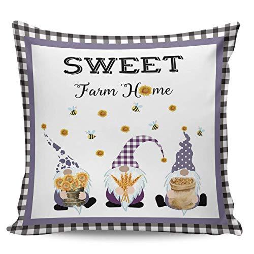 Fundas De Almohada,Sweet Farm Home GNOME Daisy Sunflower Bee Funda De Almohada A Cuadros Blanco Y Negro, Llamativas Fundas De Almohada para Viajes Largos,45x45cm