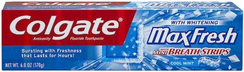 mächtig Colgate Max frische Zahnpasta, Mini-Atemstreifen, kühle Minze, 6 Unzen Wellpappe