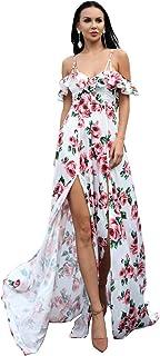 499279f00025 Miss ord 2019 Sexy V-Neck Flower Print Dress Off Shoulder Falbala Elegant  Two-
