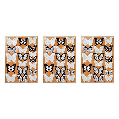 XJF Juego de 3 pegatinas de pared de mariposa, 3D simulación mariposa decoración pegatinas de diseño de arte para decoración del hogar DIY