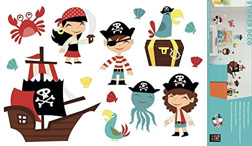 Plage Decoración Mural Adhesiva con Diseño Piratas, Vinilo, Multicolor, 48x68 cm