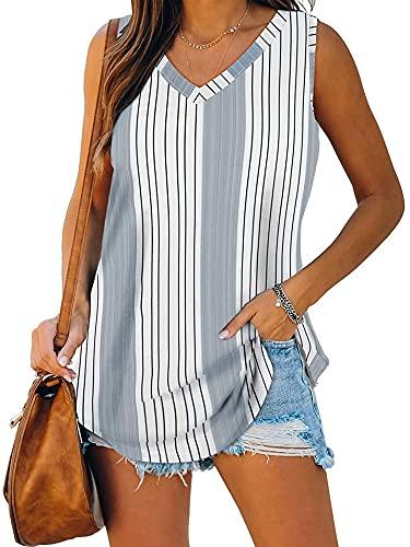 DELIMALI Camiseta sin mangas de verano para mujer, sin mangas de color sólido/flor/estampado de rayas con cuello en V