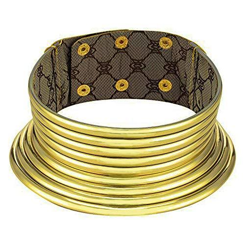 AFASOES Collares Africanos Mujer Gargantilla Africana Ajustable Collares Etnicos Africanos Collar Nacional Collares Africanos Dorada Gargantilla Oro Grande para Muejr Chicas Y Niñas, Alta:5.2cm