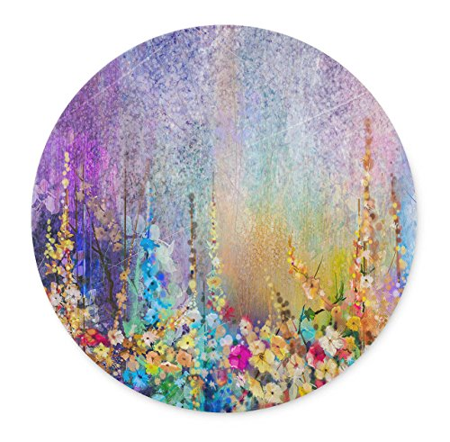 Abstract Floral Watercolor Painting Round Mouse pad-Non-Slip Rubber Round Mousepad-Applies to Games,Home, School,Office Mouse pad