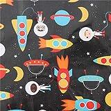 Schwarzes Wachstuch mit Raketen und Astronauten