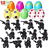 Tinabless 12 Pcs Pre Filled Easter Eggs with SWAT Building Blocks - Mini Figurine Toys - 2.36' Eggs for Easter Basket Stuffers, Easter Party Favors, Easter Egg Hunt, Classroom Events