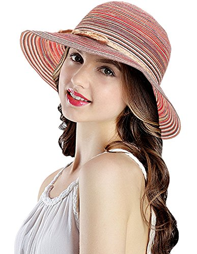 LRKC Women's Classic Multi-Colored Roll-Able Straw Sun Hat Brick Red