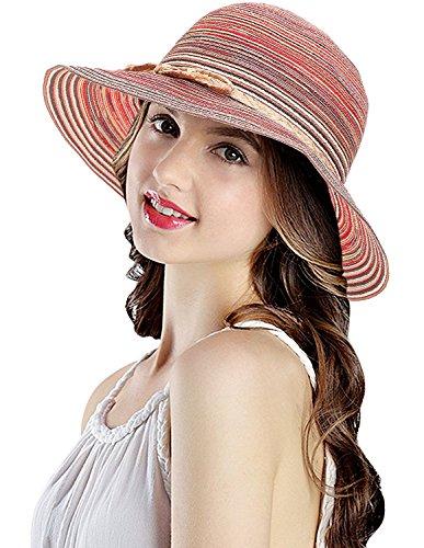 LRKC Women's Classic Multi-Colored Roll-Able Straw Sun Hat Brick Red