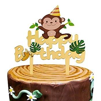 Gold Acrylic Monkey Happy Birthday Cake Topper Monkey Birthday Cake Decor Safari Jungle Themed Birthday Party Supplies Zoo Animals Centerpiece