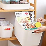 Scatole portaoggetti rettangolari, set di 3 cestini da studio in plastica per cucina, casa, ufficio, bagno, 30 x 20,5 x 12,5 cm