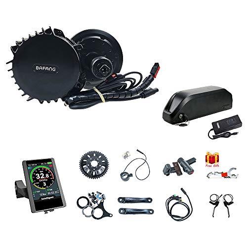 Bafang BBSHD 48V 1000W Mid Drive Electric Bike Motor with LCD Display and Battery (Optional) Ebike Conversion Kit for Mountain Bike Road Bike(850C-68MM-42T-52V17.5ah)