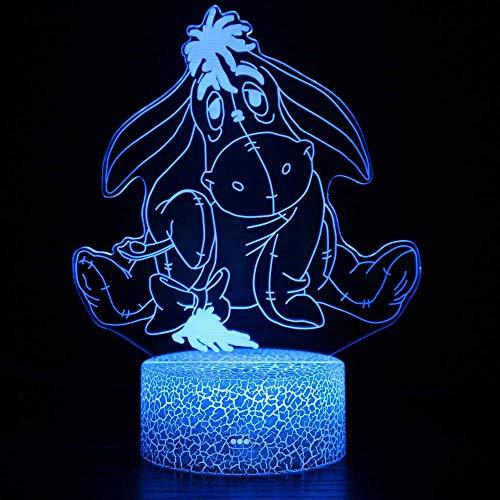 Luz de noche 3D de burro LED de luz mágica, control remoto que cambia de color, luz nocturna ilusión, el mejor regalo creativo para niños