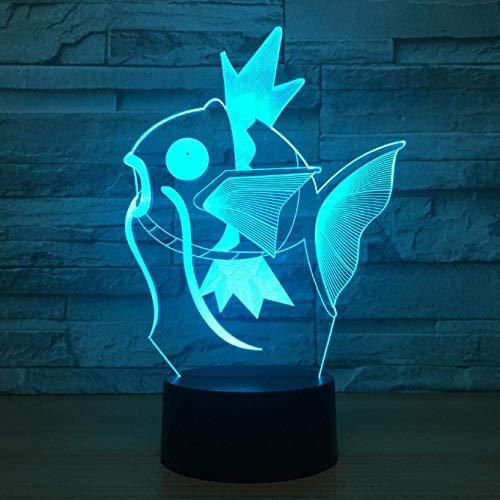 Luz de noche 3D lámpara deslizante lámpara de mesa forma de pez 7 cambio de color interruptor táctil decoración de escritorio luz cumpleaños regalo de Navidad con acrílico plano ABS base cable USB