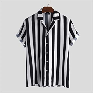 BRQ Summer Men Striped Shirt Casual Lapel Neck Short Sleeve Button Shirt Chic Loose Streetwear Vacation Blouse