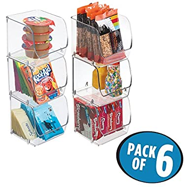 mDesign Stacking Organizer Bins for Kitchen, Pantry, Office, Bathroom - Pack of 6, Small, Clear