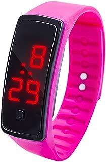 Cliramer LED Digital Display Watch, Bracelet Watch Children's Students Silica Gel Sports Wrist Watch (Hot Pink)