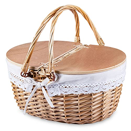 SatisInside Picknickkorb aus Weidengeflecht, mit Holzdeckel und waschbarem Einsatz, Beweglicher Griff, Weiß