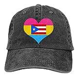 Hombres o Mujeres Gorras de béisbol Ajustables de Tela de Mezclilla Corazón Pansexual Puerto Rico 1 Gorra Lisa