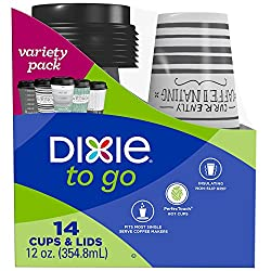 Dixie To Go Coffee Cups and Lids, Assorted Designs, Disposable Hot Beverage Cups & Lids (14 Count),