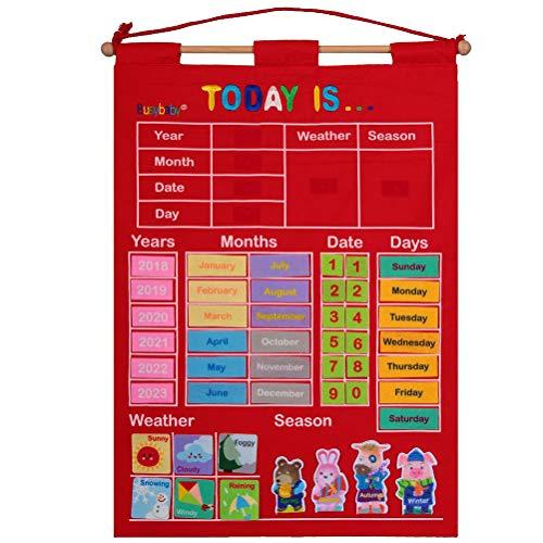 J-ouuo Calendario infantil para colgar en la pared, calendario de pared y gráfico de bolsillo meteorológico, tiempo estación, fecha, meses, año y calendario para niños, educación preescolar