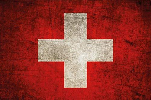 FS Land Fahne Schweiz National Flagge Blechschild Schild gewölbt Metal Sign 20 x 30 cm