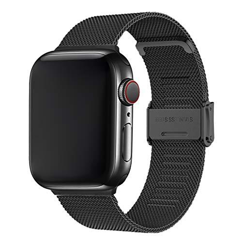 Cinturino per Apple Watch 42mm 44mm,Bracciale in Acciaio Inossidabile Compatibile con iWatch Series SE 6/5/4/3/2/1(42mm/44mm, Nero)