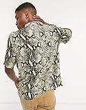 コリュージョン ワークシャツ メンズ COLLUSION short sleeve shirt in snake print [並行輸入品]