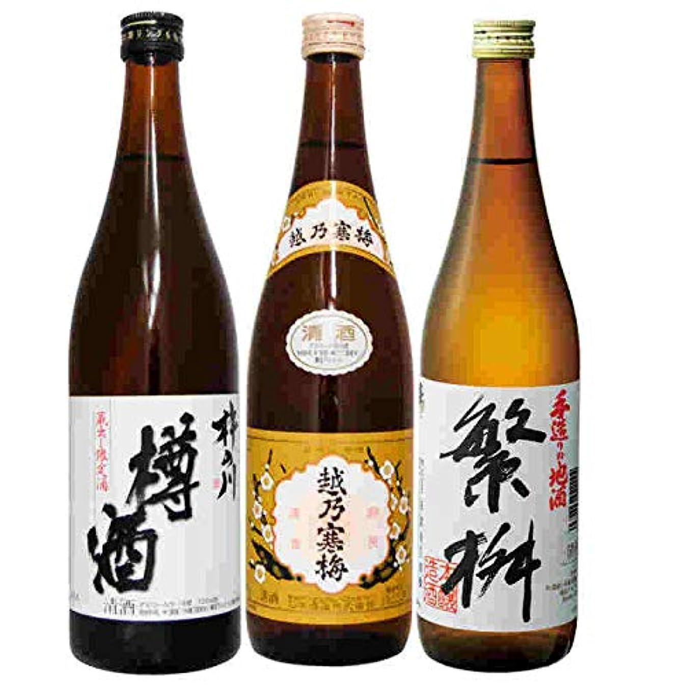 魅了するクラッチバタフライ日本酒3本晩酌飲み比べセット720ml 晩酌地酒セット3本入越乃寒梅 繁桝 杵の川