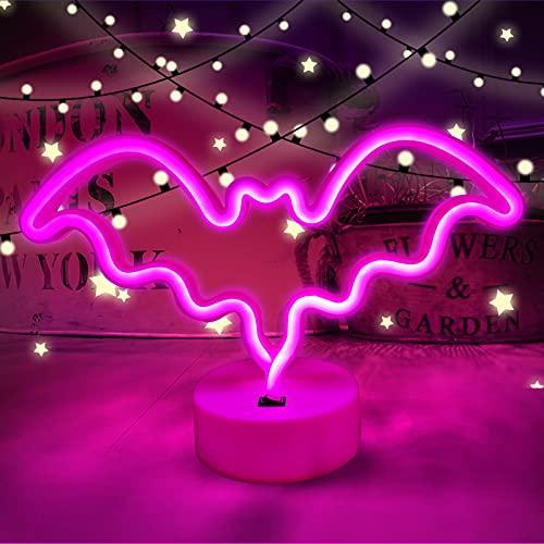 base per lampada AGUDOU Lampada Neon Pipistrello Rosa Con Base