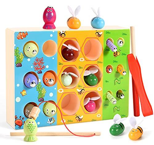 ECtury 3 in 1 Magnetisch Angelspiel Holzspielzeug, Montessori Spielzeug ab 1,2,3,4 Jahre, Kinderspielzeug Junge Mädchen ab 1,2,3 Jahre, Baby Spielzeug, Lernspielzeug Geschenk für Kinder