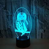 Enjoyment Owl Colorful Gradient LED 3D Stereo Remote USB Lamp Night Light Touch
