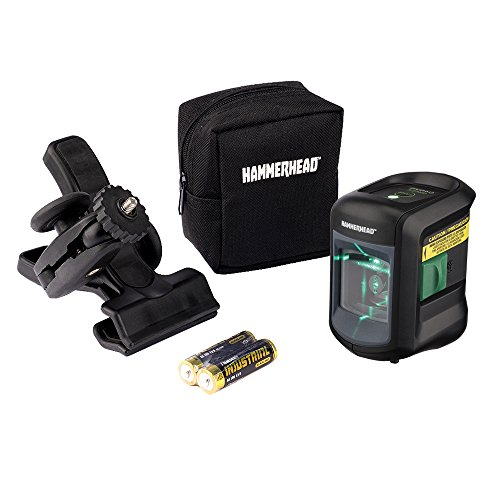 HAMMERHEAD HLCLG01 Green Beam COMPACT Self-Leveling Cross Line Laser with Adjustable Mounting Clamp & Storage Bag