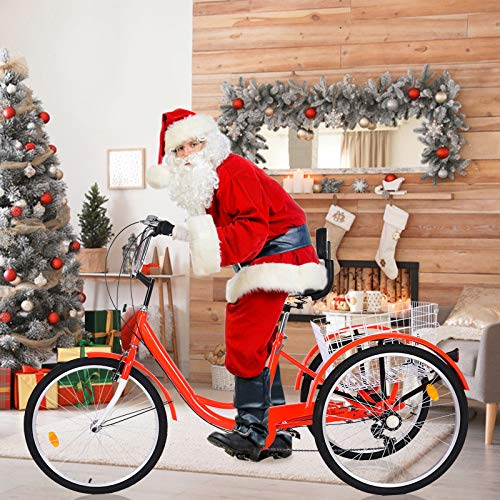 MTFITNESS 2020 New Adult Tricycle 1/7 Speed 3-Wheel with Cargo Basket Three Wheel Cruiser Bike, Multiple Speeds for Seniors, Women, Men. Red