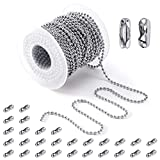 PP OPOUNT 48 Feet Stainless Steel Ball Bead Chain 2.4 mm Adjustable Pull Chain Bead, Beaded Roller Chain with 30 PCS Matching Connectors for Jewelry Making