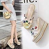 CCJW Sandalias de Diapositivas de Piel de Mujer, Zapatillas de Colores Transparentes, Sandalias de cuña de la Plataforma Gold_34, Glamour Delgado Chanclas kshu