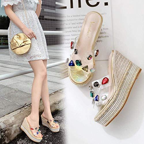 FYSY Zapatos de verano de cuña baja, zapatillas transparentes coloridas, sandalias de cuña de plataforma, dorados_36, unisex para adultos, playa, piscina, fangkai77