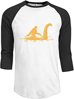 Bigfoot Sasquatch Riding The Loch Ness Monster Adult Mens Long-Sleeved Tshirt