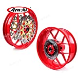Arashi Front Rear Wheel Rims and Brake Disc Rotors for HONDA CBR1000RR 2006-2016 Motorcycle Replacement Accessories CBR 1000 CBR1000 RR 1000RR 1000CC Red 2007 2008 2009 2010 2011 2012 2013 2014 2015