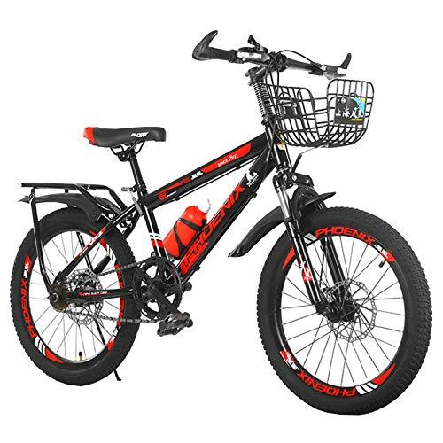 Axdwfd Infantiles Bicicletas Bicicletas de 18/20 Pulgadas para niños, adecuados para niños de 7 a 14 años, Azul, Azul. (Color : Red, Size : 20in)