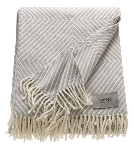 Schöner Wohnen Kollektion Wohndecke 140x200 cm • weiche Kuscheldecke grau Tebas • Sofadecke Baumwoll Mischung