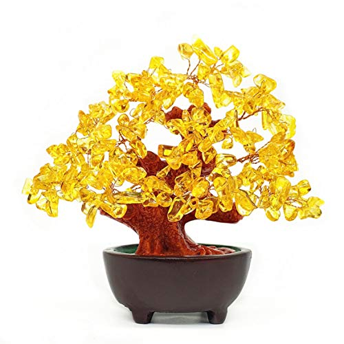 Colorsheng 7 Inch Quartz Crystal Money Tree Bonsai Feng Shui Gem Decoration for Wealth and Luck (Yellow)