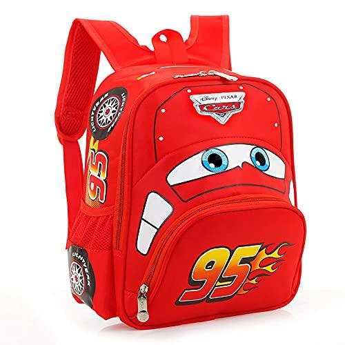 Cars Lightning Mcqueen Bolsa para niños de 3 a 6 años, Mochila de Seguridad para niños, niños, Estudiantes de Escuela Primaria, Juguetes, Rojo