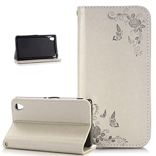 Kompatibel mit Sony Xperia Z3 Hülle,Sony Xperia Z3 Schutzhülle,Prägung Schmetterling Rose Blumen PU Lederhülle Flip Wallet Ständer Handy Hülle Tasche Hülle Cover Schutzhülle für Sony Xperia Z3,Beige